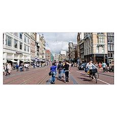 Tourists walking in a street, Amsterdam, Netherlan Poster