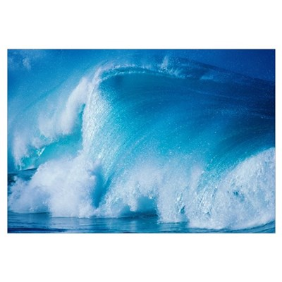 Hawaii, Wave Crashing With Spray Framed Print