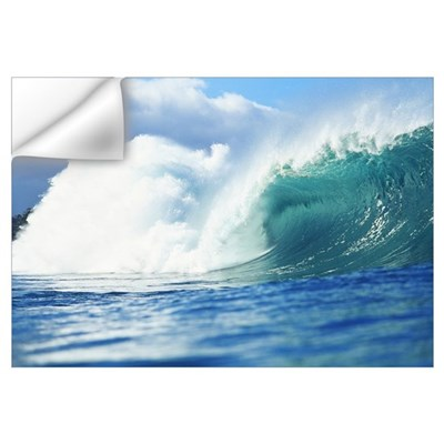 Large Green Wave Crashing, View From Side Wall Decal