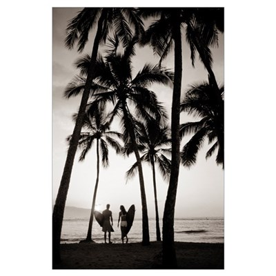 Silhouetted Couple Holding Surfboards Among Palm T Poster