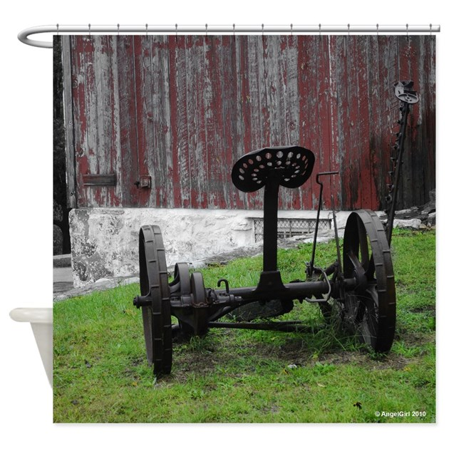 Tractor Shower Curtain : Antique tractor and barn square shower curtain by