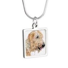 Cream Labradoodle 4 Silver Square Necklace