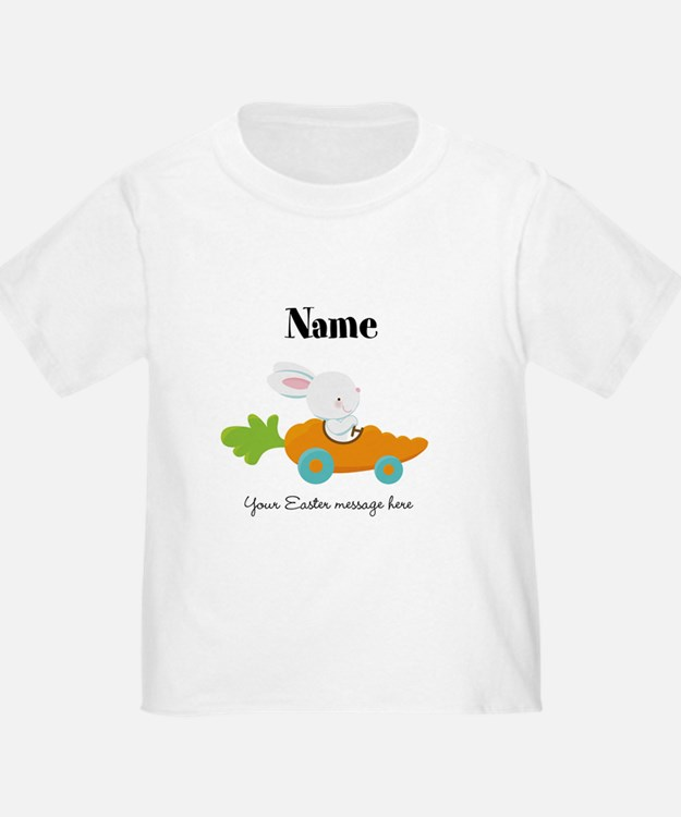 Personalized Easter Bunny in Carrot Car T-Shirt
