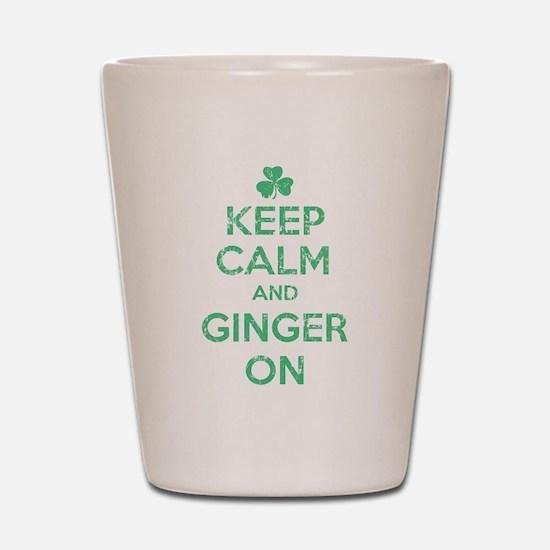 Keep Calm and Ginger On Irish Shot Glass