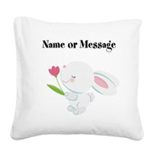 Girl Bunny Square Canvas Pillow