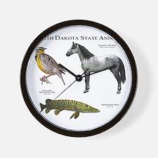 North Dakota State Animals Wall Clock