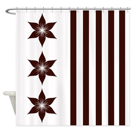 Brown White Flowers Stripes Shower Curtain By Cheriverymery