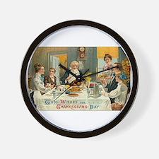 Traditional Thanksgiving Dinn Wall Clock