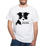 Border collie Mens White T-shirts