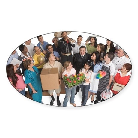 Group portrait of people with Sticker (Oval 50 pk)