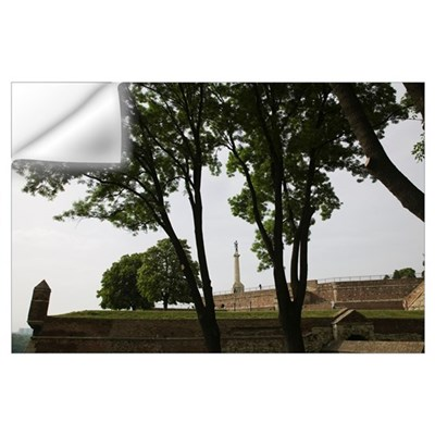 Tree with a monument in the background, Victory Mo Wall Decal