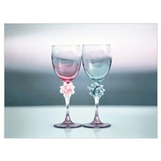 Two Drinking Glasses Decorated by Ribbons Poster