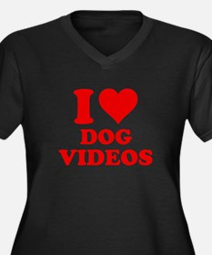 I Love Dog Videos Women's Plus Size V-Neck Dark T-