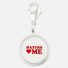 Haters Love Me Silver Round Charm
