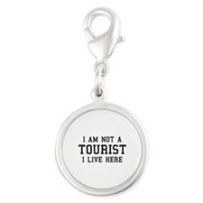 I Am Not A Tourist Silver Round Charm