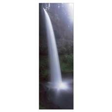 Water falling into a creek, South Falls, Silver Fa Poster