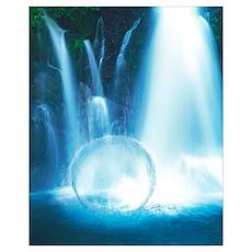 Waterfall Rain Down On Crystal Sphere In Water Poster