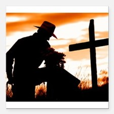 """Cowboy Prayer"" Square Car Magnet 3"" x 3"""