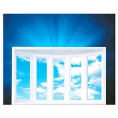 Window and Cloudy Sky on Deep Blue Shiny Backgroun Poster