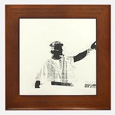 Speaker hand up grey white Framed Tile
