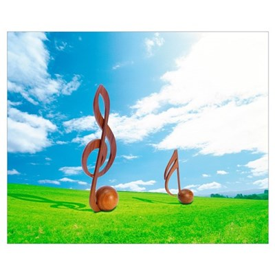 Wooden Musical Notes in Field Poster