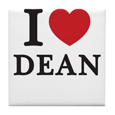 I Love Dean (Red Heart) Tile Coaster