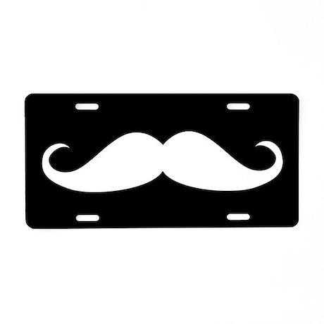Black and White Mustache Aluminum License Plate