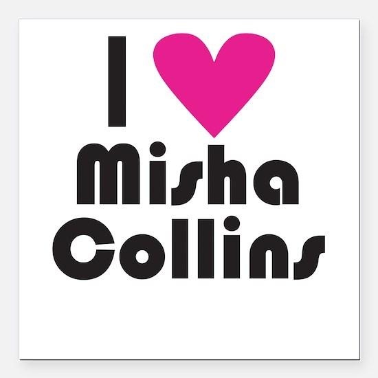 I Love Misha Collins (Pink Heart) Square Car Magne