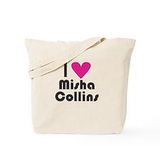I Love Misha Collins (Pink Heart) Tote Bag