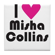 I Love Misha Collins (Pink Heart) Tile Coaster