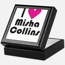 I Love Misha Collins (Pink Heart) Keepsake Box