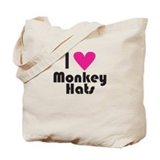 I Love Monkey Hats (Pink Heart) Tote Bag