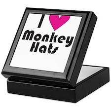 I Love Monkey Hats (Pink Heart) Keepsake Box