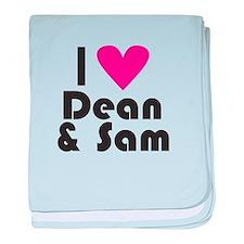 I Love Dean & Sam (Pink Heart) baby blanket