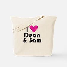 I Love Dean & Sam (Pink Heart) Tote Bag