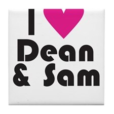I Love Dean & Sam (Pink Heart) Tile Coaster