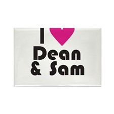 I Love Dean & Sam (Pink Heart) Rectangle Magnet