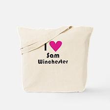 I Love Sam Winchester (Pink Heart) Tote Bag