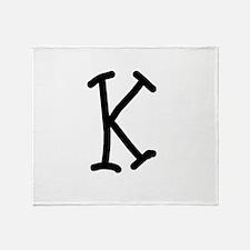 Bookworm Monogram K Throw Blanket