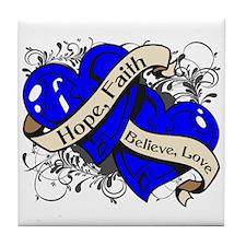 ALS Disease Hope Dual Heart Tile Coaster