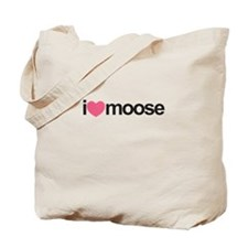 I Love Moose (Pink Heart) Tote Bag