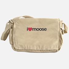 I Love Moose (Pink Heart) Messenger Bag