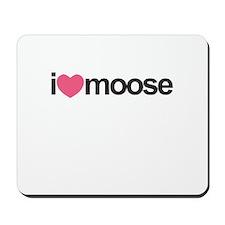 I Love Moose (Pink Heart) Mousepad