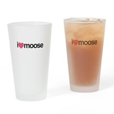 I Love Moose (Pink Heart) Drinking Glass