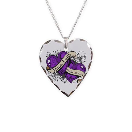 Alzheimers Disease Hope Dual Heart Necklace Heart