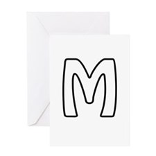 Outline Monogram M Greeting Card