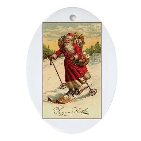 Victorian Skiing Santa Claus - Joyeux Noel Ornamen