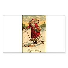 Victorian Skiing Santa Claus - Joyeux Noel Decal