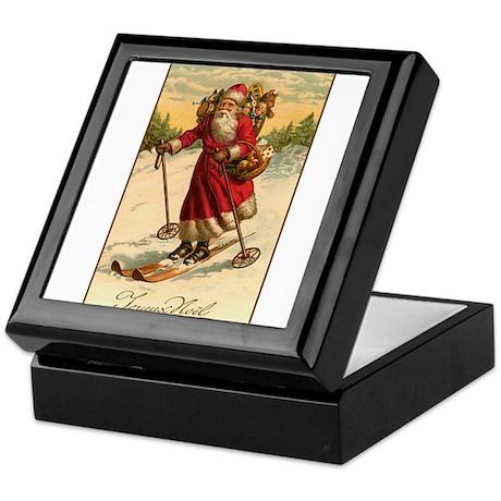 Victorian Skiing Santa Claus - Joyeux Noel Tile Bo