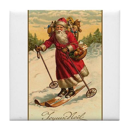 Victorian Skiing Santa Claus - Joyeux Noel Tile Co